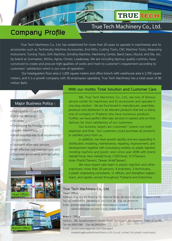 TRUE TECH MACHINERY CO ,LTD  sales of machinery  Equipment  Hand